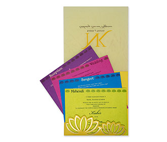 Lotus themed Indian wedding invitation card in yellow