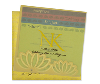 Lotus themed Indian wedding invitation card in yellow -