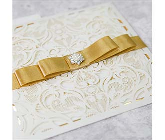 Luxurious Lace Wedding Invitation & RSVP set with Golden Ribbon