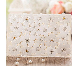 Luxury wedding invitation card witth laser cut floral lace design -