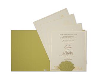 Marble print olive green indian wedding invitation