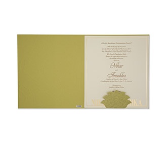 Marble print olive green sikh wedding invitation