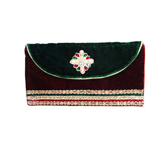 Maroon & green Velvet with broach hand clutch -