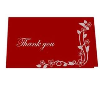 Thank you card  in Red & silver Design
