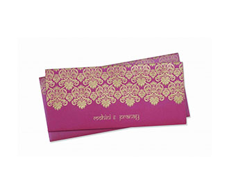 Moden Wedding Invitation in Pink with Embossed Motifs in Golden