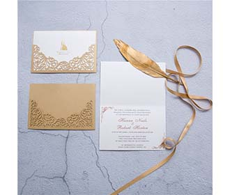 Modern Elegant Metallic Brown Laser Cut Wedding Invitation