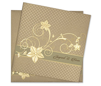 Modern floral Indian wedding card in golden brown colour