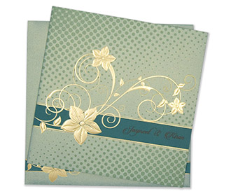 Modern floral Indian wedding card in mint green colour