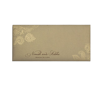Modern Indian wedding card in brown & golden with paisley design