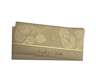 Modern Indian wedding card in brown & golden with paisley design -