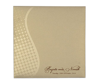 Modern Indian wedding invite in brown and golden with polka dots