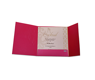 Modern tamil wedding invitation in pink with Chandelier design