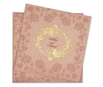 Modern wedding Invitation in rose gold colour with rose flowers