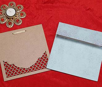 Mughal Royal Indian Wedding Card in Light Blue Carboard