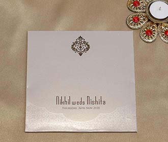 Mughal Style Indian Wedding Card in Light Brown Colour