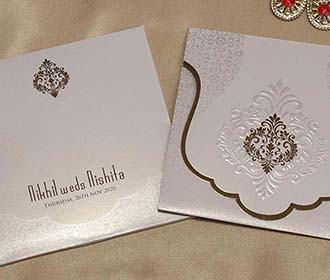 Mughal Style Indian Wedding Card in Light Brown Colour -
