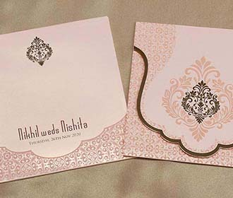 Mughal Style Indian Wedding Card in Peach Colour -