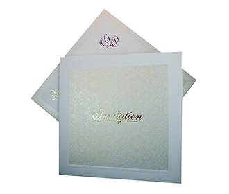 Mulifaith cream Floral wedding Invitation Card with a folding insert