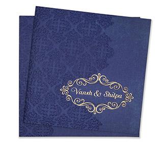 Multfaith Indian wedding card in royal blue & embossed floral motifs