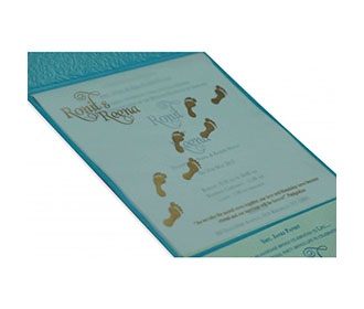 Multi Faith Indian Wedding Card in Shimmering Turquoise Blue