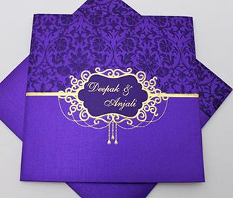 Multi faith wedding invitation with purple motifs