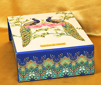 Multicolor designer peacock theme box invite with sweet jars -
