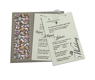 Multicolour floral wedding invitation card in laser cut design