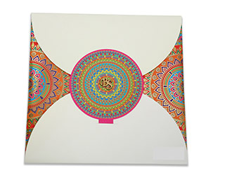 Multicolour modern Indian wedding card with mandala design -