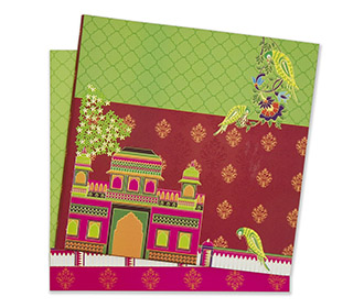 Multicolour royal indian wedding invitation with parrots