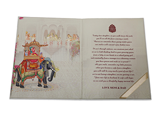 Multicolour wedding invitation card with couple in Indian attire