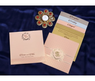Multifaith beige colored wedding invite