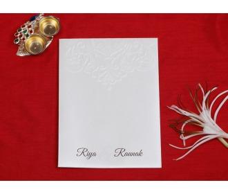 Multifaith cream colored laser cut wedding invite