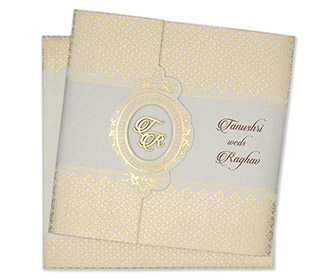 Multifaith designer wedding card in powder blue and golden colour -
