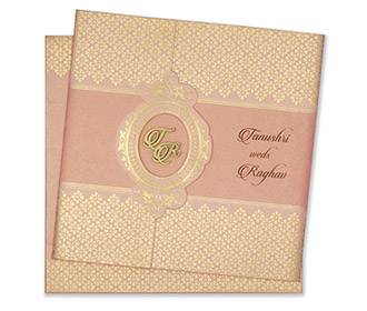 Multifaith designer wedding card in pink and golden colour -