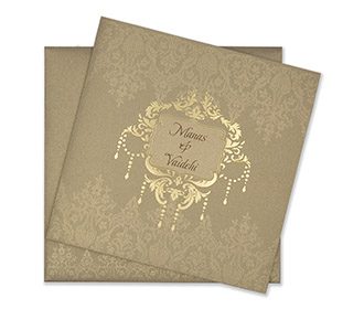 Multifaith designer wedding card in shiny light brown colour