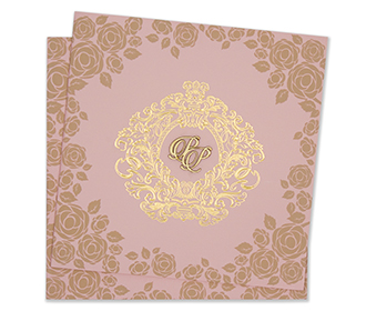 Multifaith floral wedding invitation card in baby pink