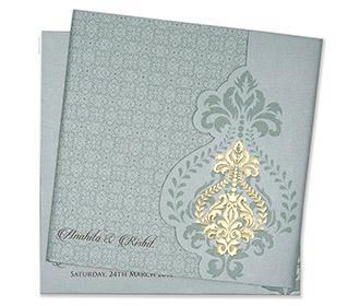 Multifaith floral wedding invitation card in mint green colour