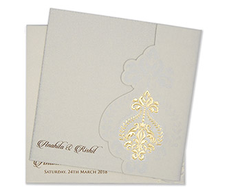 Multifaith floral wedding invitation card in powder blue colour