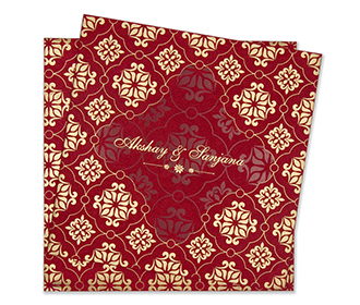 Multifaith floral wedding invitation card in red & golden colours.