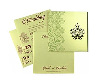 Multifaith green color wedding invite with designer motifs -