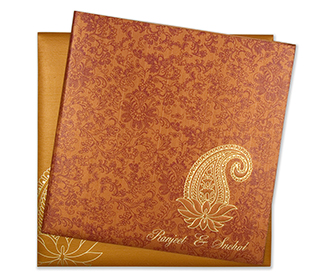 Multifaith hindu wedding card in orange with paisley design