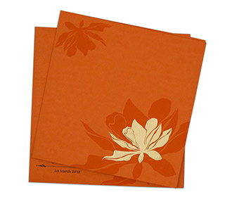 Multifaith Indian floral wedding invitation in orange colour -
