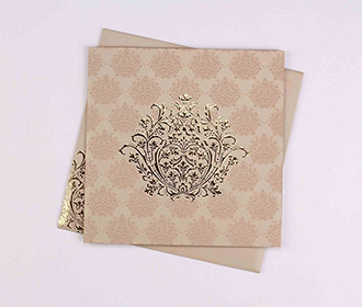 Multifaith Indian marriage card in light brown & golden