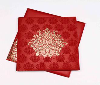 Multifaith Indian marriage card in maroon and golden