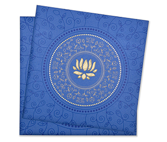 Multifaith Indian wedding card in blue with cut out lotus motif