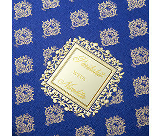 Multifaith Indian wedding card in blue with golden motifs