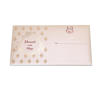 Multifaith Indian wedding card in cream colour with gate fold