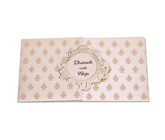 Multifaith Indian wedding card in cream colour with gate fold -