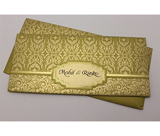 Multifaith Indian wedding card in golden with floral motifs