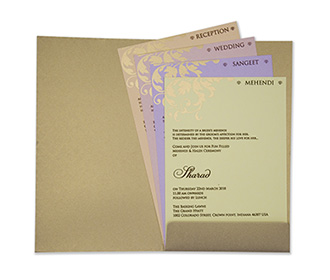 Multifaith Indian wedding card in light brown and powder blue color